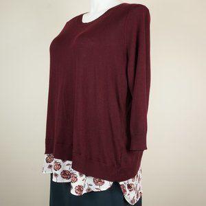 Dalia Sweaters - 3/$20 Dalia Sweater Maroon Floral Mixed Media